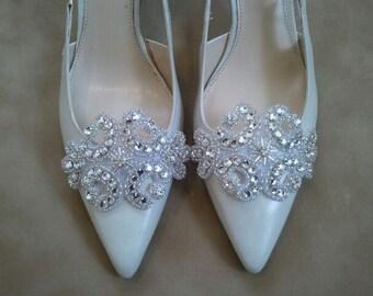 Wedding Shoe Clips - Bridal & Bridesmaids shoe clips- Dazzeling Crystal Rhinestone - Style S103