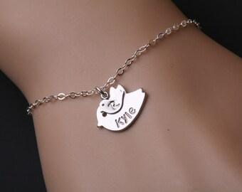Up to 4 initial,Bird initial,One baby,Bird initial bracelet,Gradema,Family bracelet,Mom bird baby,Babyshower gift