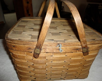 Woven Wood Picnic Sewing Basket Vintage With Swing Handles