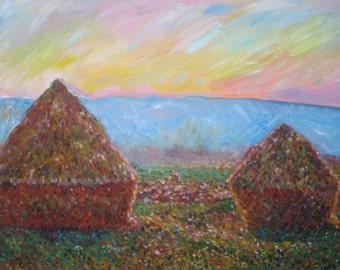 After Monet's Haystacks, Sunset