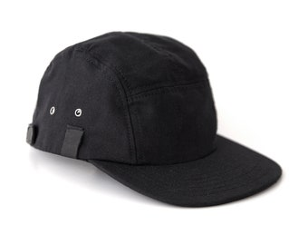 Black 5 Panel Snapback, Canvas Leather Snapback, Camper Hat Made in the USA