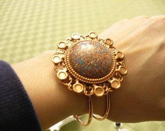 Vintage Brooch Bangle - repurposed Vintage- copper tome and turquoise color -completely adjustable and open on the bottom- the perfect gift