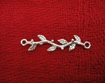 925 sterling silver oxidized branch charm, connector