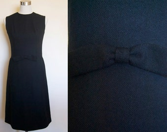 Vintage 60s dress  // Audrey Hepburn dress // black wool dress