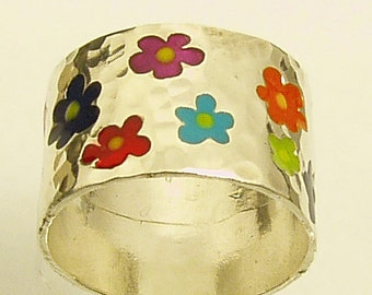 18 flower ring, silver ring,Recycled silver, Wedding Band, Woman Wedding Band. Made To Order  ring, JEWELS OF JOY