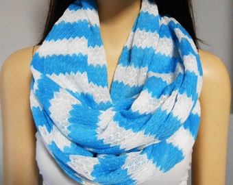 Turquoise & White ZIG Zag   Infinity Scarf  Sweater Knit