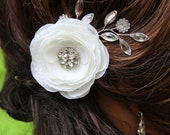 "Bridal Crystal hair pin, white flower with crystal detail and crystal spray on side ""Elizabeth"""
