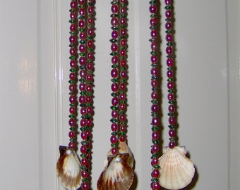 Wind Chime with Scallop Shells and Red and Green Glass Beads Mixing Glass with the Sea