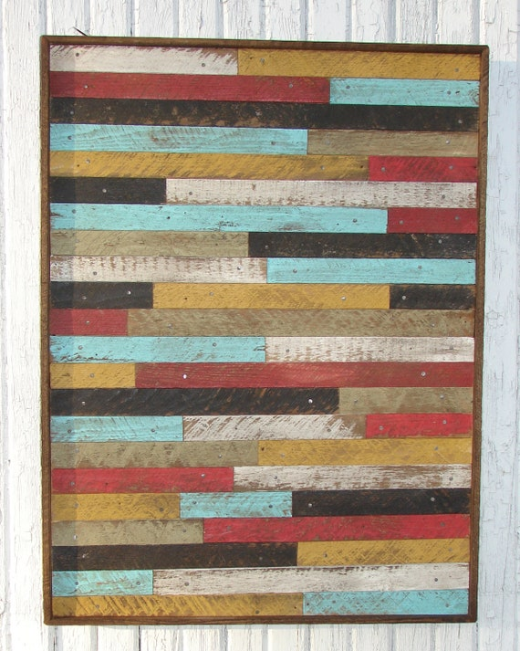 Large Pottery Barn Style Inspired Reclaimed Wood Lathe Wall