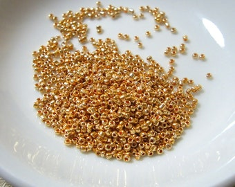 15/0(1.5mm), Metallic Luster, Golden Orange Color, Glass, Tiny Round Seed Beads, 40 grams