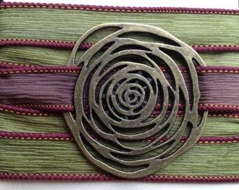 Silk Wrap Bracelet with Large Flower (Antique Gold)