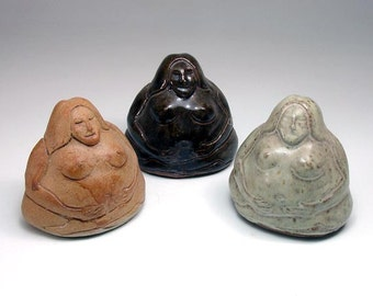 Sitting Gaia Goddess Clay Rattle, Sculpted Stoneware Altar Shaker
