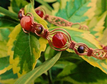 Red Agate and Tiger Eye Wire Wrapped Bracelet, wire wrapped jewelry handmade