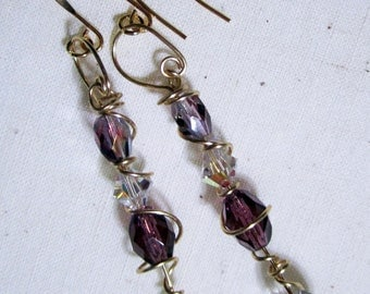 Wire Wrapped Swarovski & Fauceted Czech Crystal Dangle Earring