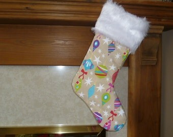 Luxurious Christmas Stocking with Fur Trim, Beige with Baubles
