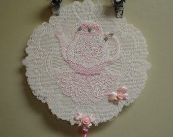 Pink Victorian Lace Teapot Wall Hanging