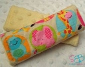 Safari Animals Yellow Minky Car Seat Strap Covers