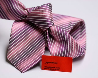 SKINNY or Regular Silk Tie in Stripes with Shades of Pink