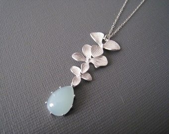 Sky Light Teardrop Jade and orchid lariat Necklace in STERLING SILVER CHAIN-- Gorgeous Necklace-Perfect Gift for mom for friends