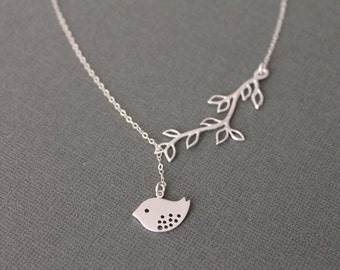 Lovely Bird and Twig Lariat Necklace in STERLING SILVER CHAIN--Sweet Necklace-Perfect Gift for mom Birthday Present for her