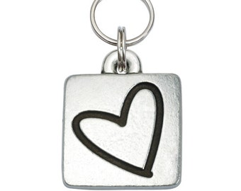 Pewter Square Pet Tag - Heart