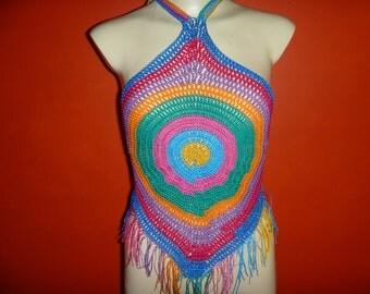 70s style crochet halter top