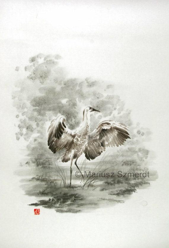Crane bird japanese painting sumi e watercolor art asian art for Japanese watercolor paintings