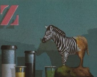 "James Carter  ""Zebra""  Original Serigraph-- (From the 1986 series: Toy Maker)"