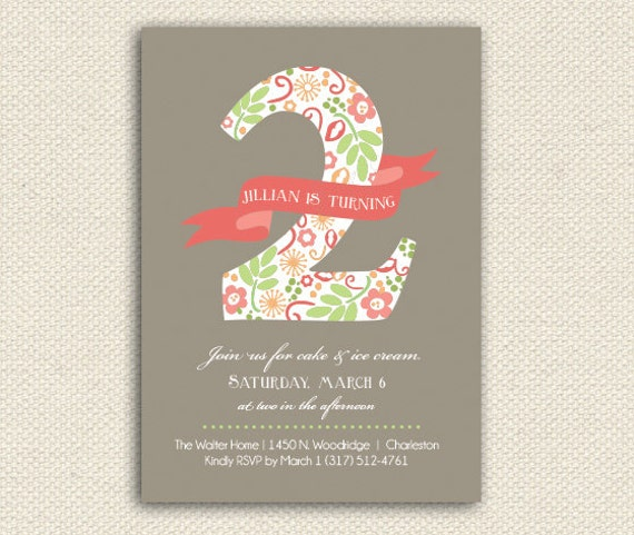 Items Similar To Printable Birthday Invitations Floral Two