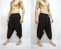 Black Samurai Pants, Trouser, Baggy pants, Yoga 100% Cotton(Unisex) One Size Fit All...New