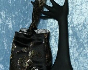 Bridal or Formal Purse - Black, Bronze & Platinum Satin Bag