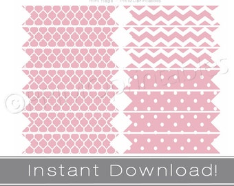 Printable straw flags INSTANT DOWNLOAD pink party decor printables DIY or cupcake flags