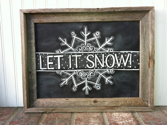 Let It Snow Snowflake Chalk Art Instant Download Christmas