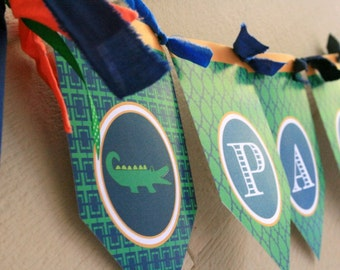 Alligator Name Banner- Assembled and Personalized - Navy, Green and Orange