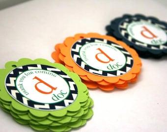 Chevron Birthday Party Theme - 20 Favor Tags - Orange Lime Green Navy