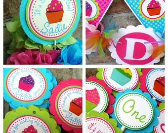 Cupcake  Birthday Party Package - Personalized and Assembled - Sweet to Be ONE TWO THREE