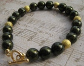 Green Czech & Gold Beaded Bracelet On Sale Now For The Holidays
