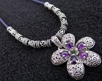 Amethyst Necklace, Amethyst Flower Pendant, Plumeria Necklace, Amethyst Plumeria Pendant, Leather Necklace, Amethyst Gemstone Jewelry, OOAK