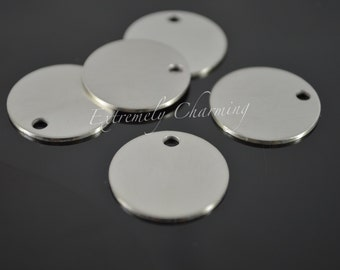 "5 pcs - 3/4"" Round Stamping Blanks - Stainless Steel Round Disc - Brushed Finish w/Hole"