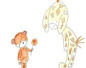 SALE - Kids Wall Art, Nusery Decor, Print, Baby Bear and Giraffe, White Background - 8x10