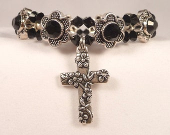 Swarovski Crystal Black Daisy Prayer Bracelet  7-3/8 inch