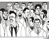 """Print 11"""" x 17""""--African American Men Group Portrait--Art and Design by Ajuan Mance"""