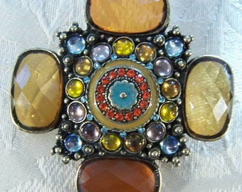 Vintage Enameled Large Round Oval  Rectangle Shades Amber Brown Glass Rhinestone  Enameled Large Art Deco Style Pin Brooch