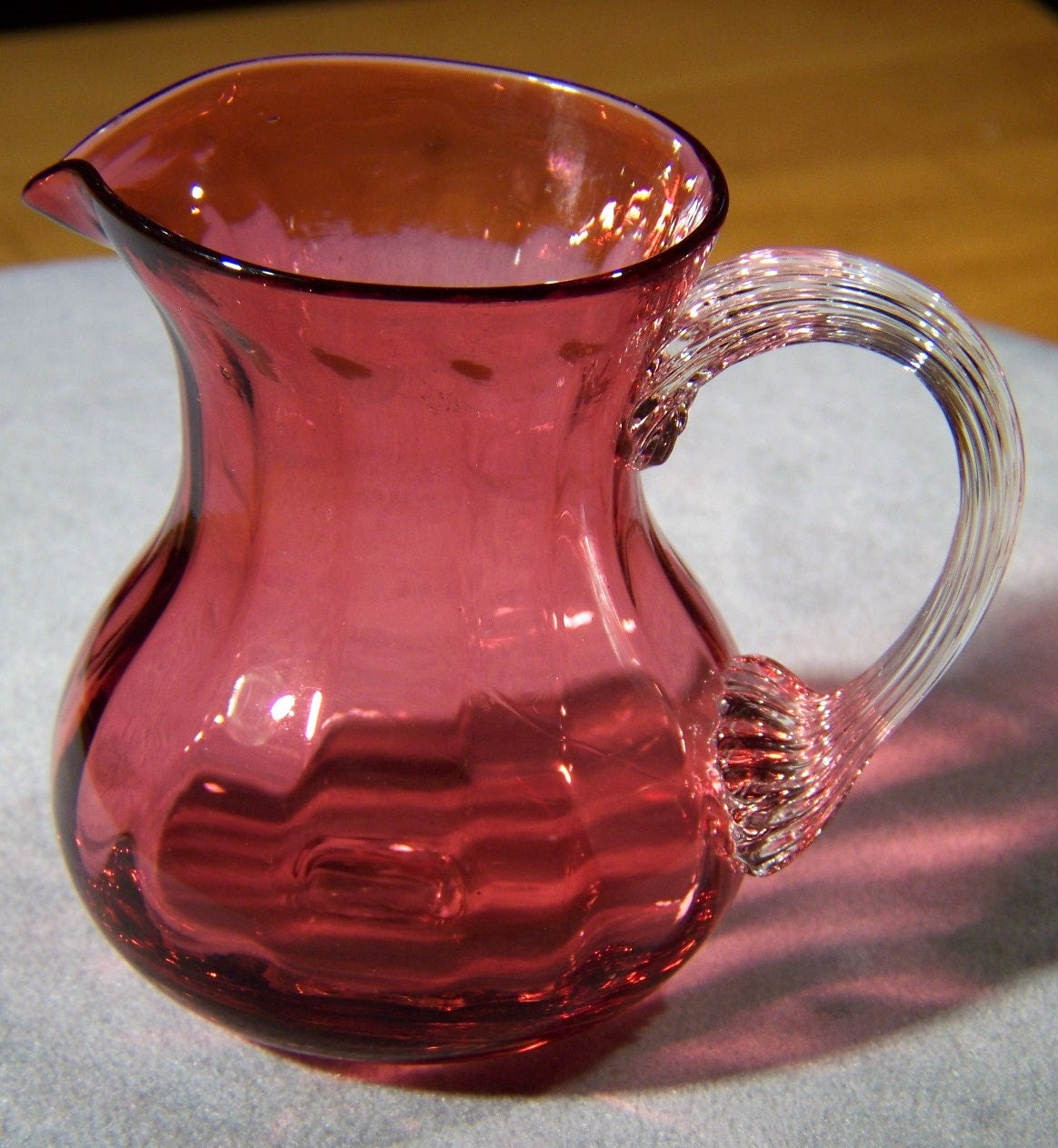 Vintage Collectable Pilgrim Cranberry Art Glass Pitcher