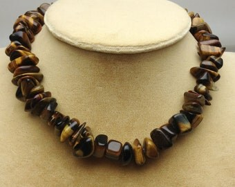 Tigers Eye Nugget Choker Necklace 15 Inch