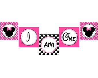 INSTANT DOWNLOAD diy Minnie Mouse Pink  PRINTABLE  birthday party high chair Banner pink black I am one
