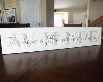 "Personalized Family Name Sign custom wedding signs 7""x36"""