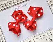 "The Layla: Pig Tail Red Polka Dot Grosgrain 2.5"" Bow Hair Clip"