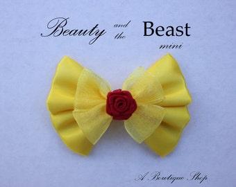beauty and the beast mini hair bow