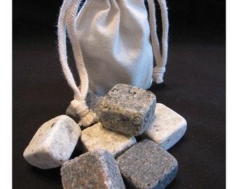 6 Granite Stone Whiskey Rocks & Muslin Bag -  Christmas, Birthday Gift / Present, Bachelor Party, Groomsman
